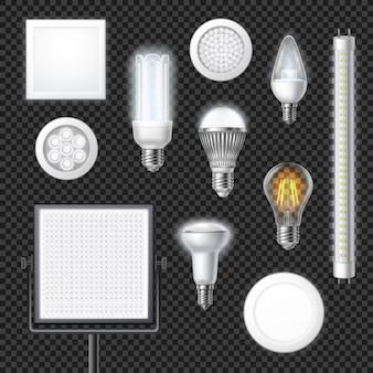 Led realistyczny zestaw przezroczystych lamp