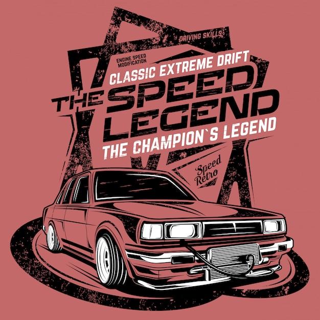 Legenda prędkości, ilustracja klasycznego samochodu driftowego