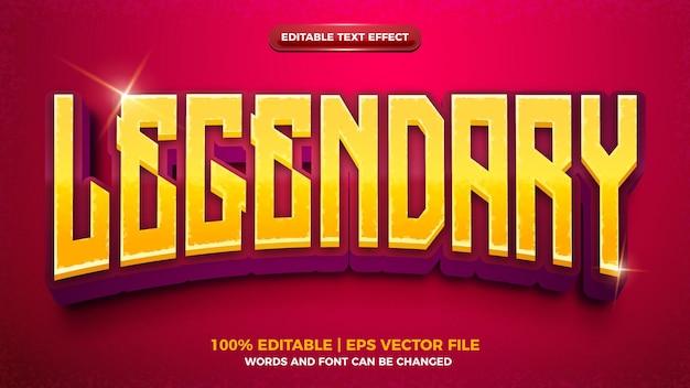 Legendarny efekt tekstowy w grze 3d cartoon