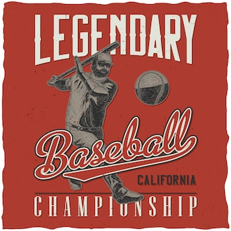 Legendarny plakat retro mistrzostw baseballu