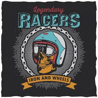 Legendarny plakat wyścigowy ze słowami żelazo i koła do projektowania