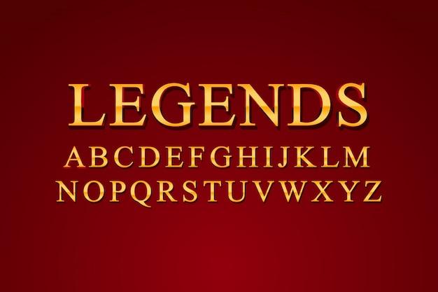 Legendy - luksusowe eleganckie złote szablony czcionek alfabetu