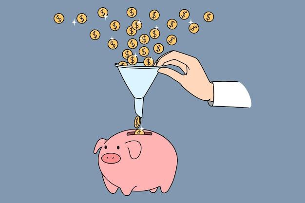 Lejek finansowy wpłacający pieniądze. ilustracja wektorowa koncepcja monet dolarowych przyciąga do lejka sprzedaży biznesu i generowania zysku.