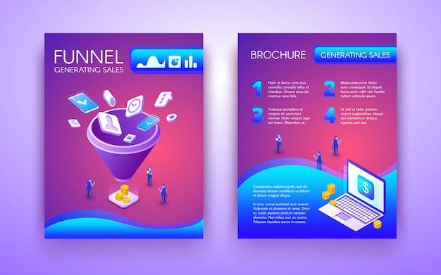 Lejek generujący broszurę biznesową, ulotny izometryczny szablon w tętniącym życiem