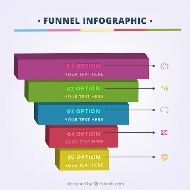 Lejek infografikę szablon z pięciu etapów i ikony