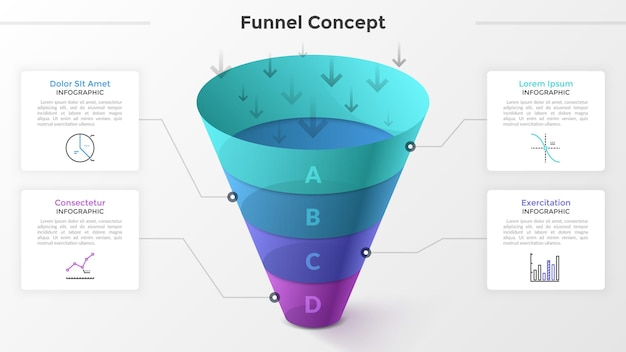 Lejek podzielony na 4 kolorowe części, symbole liniowe i miejsce na tekst. koncepcja czterech etapów rozwoju startupu. szablon projektu nowoczesny plansza. ilustracja wektorowa do prezentacji