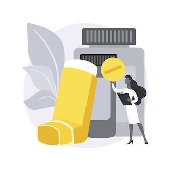 Lek na astmę oskrzelową streszczenie ilustracja koncepcja.