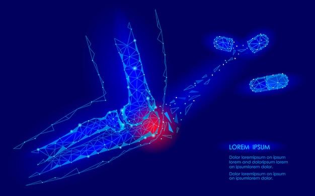 Lek na kapsułki leczy chorobę stawów łokciowych. koncepcja przyszłej medycyny geomentycznej low pain o niskim poligonie