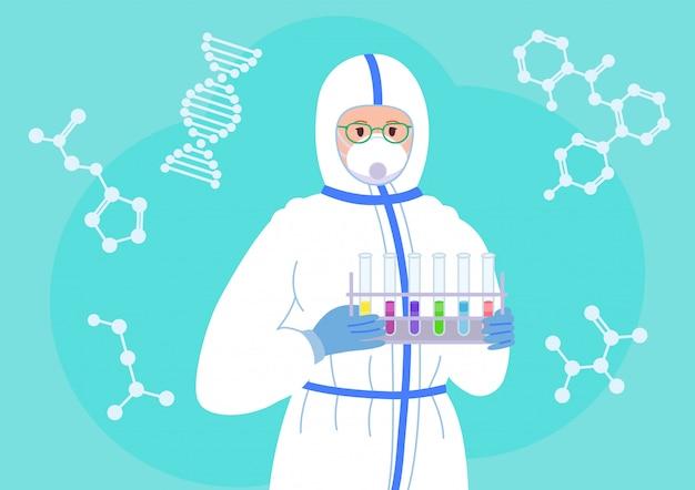 Lekarka naukowiec z kolb, w kombinezonie ochronnym i masce przeciwwirusowej. laboratorium chemiczne badania płaskie postać z kreskówki. koncepcja odkrycia szczepionki koronawirusowej. ilustracja na białym tle