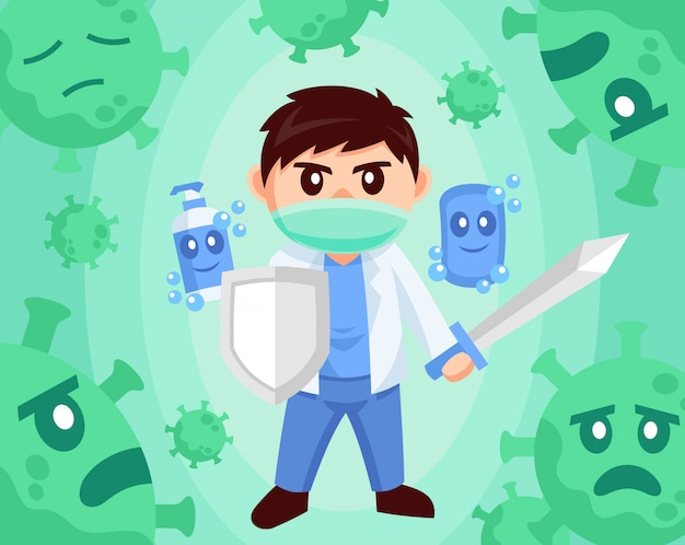 Lekarka przeciw wirusowej płaskiej projekt stylu ilustraci