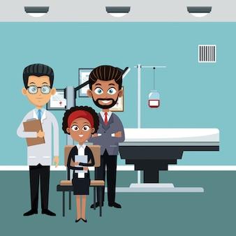 Lekarka przy szpitalnym biurem z pacjentem