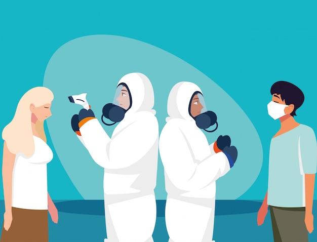 Lekarki sprawdza ludzi temperaturowego wektorowego projekta