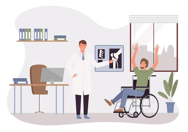 Lekarz bada niepełnosprawnego mężczyznę w szpitalu ilustracji wektorowych. kreskówka szczęśliwy pacjent z niepełnosprawnością siedzący na wózku inwalidzkim, zadowolony z dobrych wiadomości zdrowotnych o traumie, spotkanie z traumatologiem