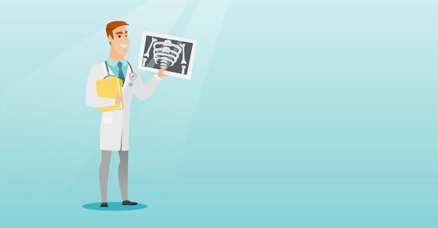 Lekarz bada radiogram ilustracji wektorowych.