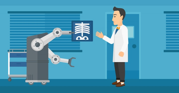 Lekarz bada radiogram za pomocą robota.