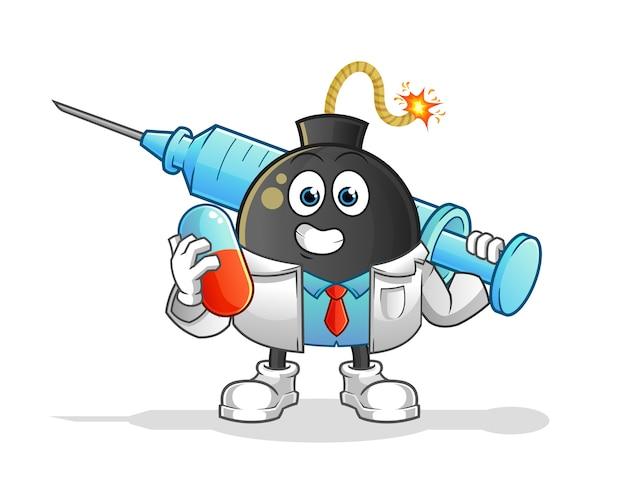Lekarz bomba trzymając medichine i zastrzyk. postać z kreskówki