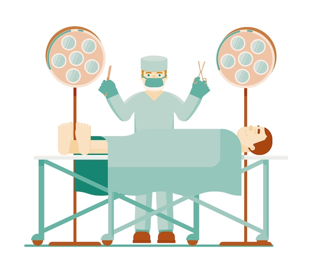 Lekarz chirurg. lekarz chirurg w mundurze ochronnym z narzędzia medyczne i pacjenta w znieczuleniu w sali operacyjnej z reflektorem na białym tle. ilustracja intensywnej terapii