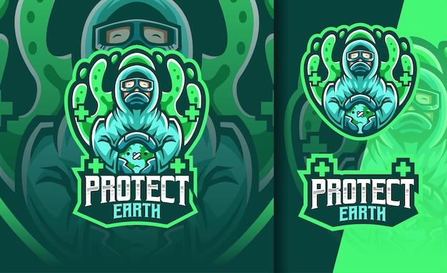Lekarz chroni ziemię przed logo maskotki corona