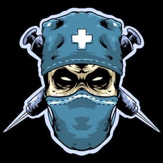 Lekarz czaszki z maskotką logo wtrysku