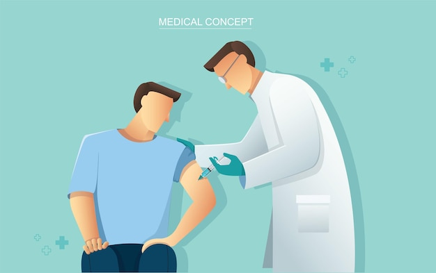 Lekarz daje szczepionkę pacjentowi, koncepcja opieki zdrowotnej medycyny
