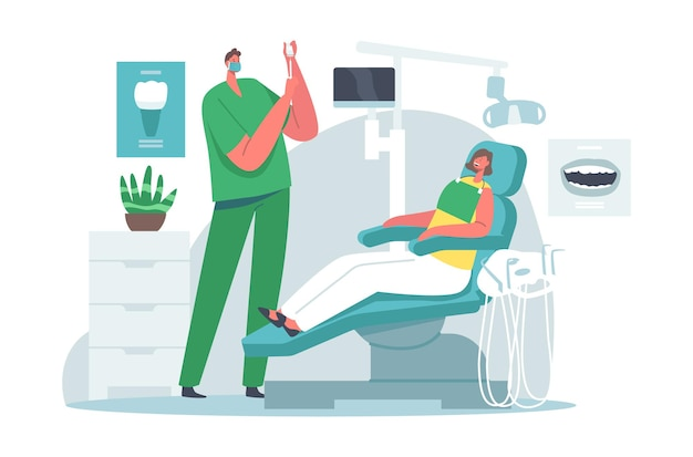 Lekarz dentysta charakter prowadzący leczenie zdrowotne przygotowuje znieczulenie dla pacjenta kobieta siedzi na krześle