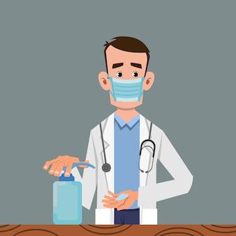 Lekarz dezynfekujący ręce żelem