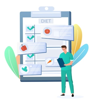 Lekarz dietetyk dietetyk z programem dietetycznym schowka ilustracja wektorowa płaskie plany diety wegańskie ...