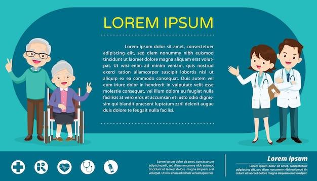 Lekarz dla starszych pacjentów na wózkach inwalidzkich