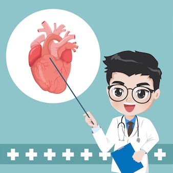 Lekarz doradza i uczy wiedzy na temat chorób serca