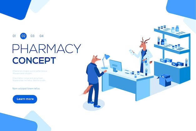 Lekarz farmaceuta i pacjent w aptece. można używać do banerów internetowych, infografik, nagłówków.