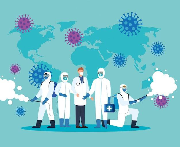 Lekarz i osoby w kombinezonie ochronnym do rozpylania koncepcji wirusa dezynfekującego covid-19
