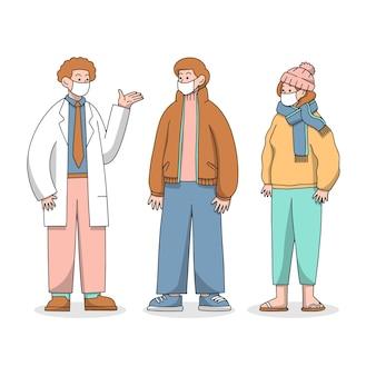 Lekarz i pacjenci rozmawiają w maskach