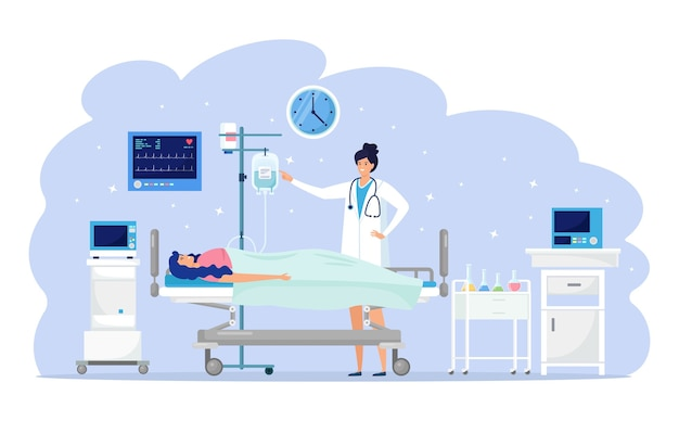 Lekarz i pacjent na oddziale medycznym. kobieta spoczywa na łóżku szpitalnym podczas intensywnej terapii kroplomierzem. pomoc w nagłych wypadkach. test kliniczny, diagnoza, badanie. koncepcja hospitalizacji. projekt kreskówki