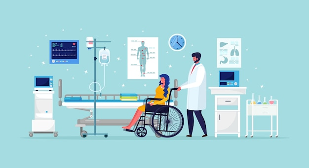 Lekarz i pacjent niepełnosprawny na oddziale medycznym. kobieta na wózku inwalidzkim w pobliżu łóżka szpitalnego z intensywną terapią kroplomierzem. pomoc w nagłych wypadkach.