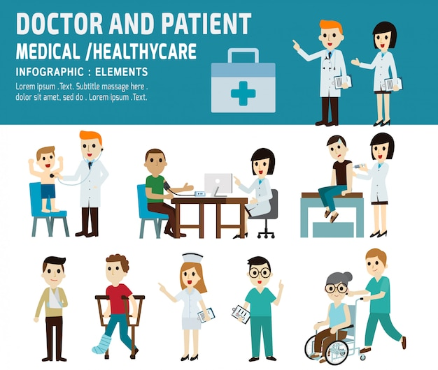 Lekarz i pacjent opieki zdrowotnej koncepcji medycznej