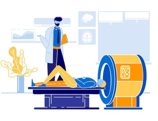 Lekarz i pacjent w mri lub ct scanner cartoon