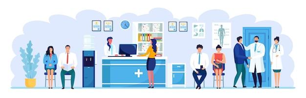 Lekarz i pacjent w recepcji szpitala. ludzie czekają na lekarza w sali przychodni.