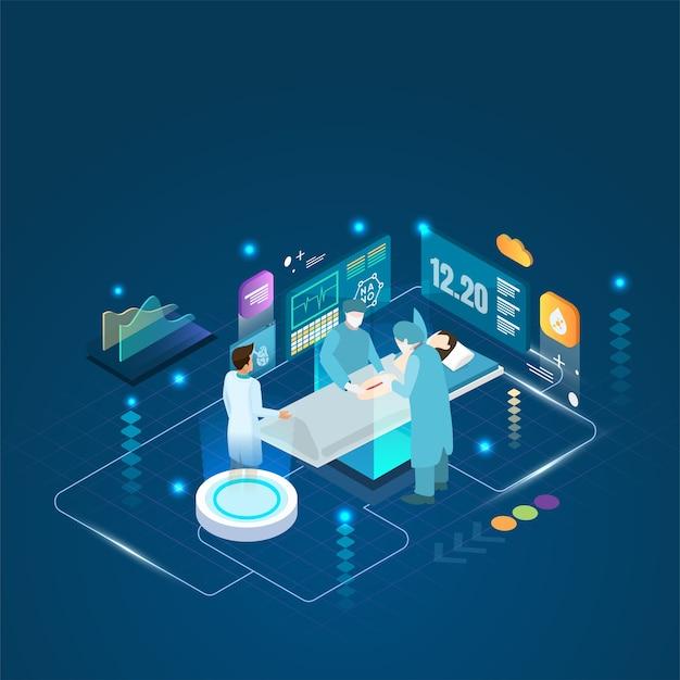 Lekarz i pacjent wykonują zabieg operacyjny na hologramie i koncepcję online.