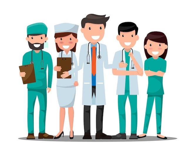 Lekarz i pielęgniarka medyczny zestaw w różnych pozie