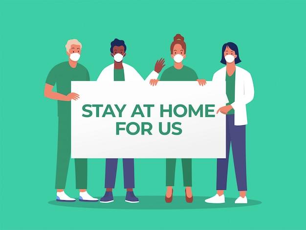 Lekarz i pielęgniarka, trzymając tablicę ze znakiem pobytu w domu dla nas słowo, ilustracja koncepcja, dystans społeczny, aby zapobiec covid 19, można użyć, strona docelowa, szablon, interfejs użytkownika, www, strona główna, plakat