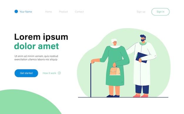 Lekarz i starsza kobieta płaska ilustracja. pracownik medyczny pomagający pełnoletniej kobiecie z laską, udzielający jej zaleceń i udzielający pomocy medycznej. pomoc, medycyna, dojrzałość, koncepcja opieki