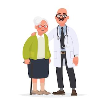 Lekarz i starszy pacjent. babcia i pracownik medyczny. dbanie o zdrowie w zaawansowanym wieku