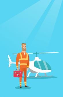 Lekarz ilustracji wektorowych pogotowia lotniczego.
