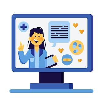 Lekarz ilustruje koncepcję online