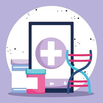 Lekarz internetowy, smartfon medycyna pigułki pojemniki apteka covid 19
