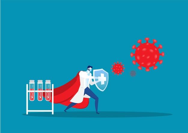 Lekarz jako bohater walczący z infekcją koronawirusem dla ilustracji koncepcji opieki zdrowotnej