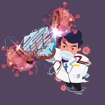 Lekarz jako superbohater w szpitalnym mundurze uderzającym wirusem