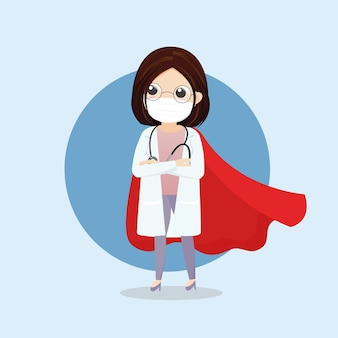 Lekarz jest bohaterem. doktor bohater w masce i czerwonej pelerynie. personel medyczny przeciwko epidemii covid-19. ilustracja