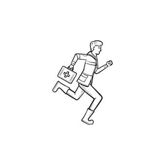 Lekarz jest uruchomiony z apteczka w ramieniu ręcznie rysowane konspektu doodle ikona. koncepcja ratownictwa medycznego
