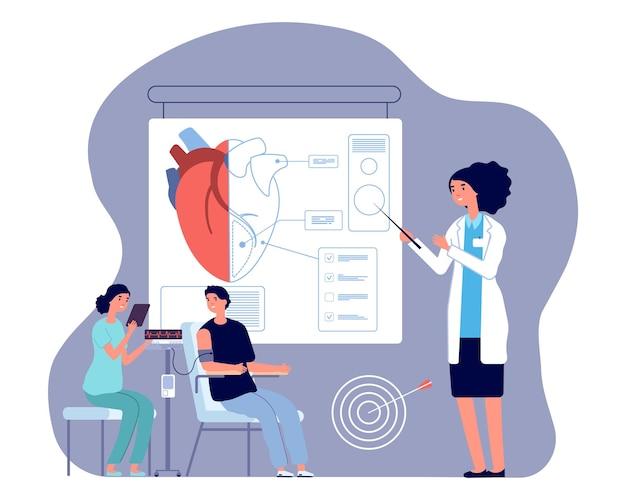 Lekarz kardiolog. badanie serca, badanie lekarskie lub przygotowanie do operacji. ilustracja wektorowa mierzone ciśnienie człowieka. diagnostyka kardiologiczna, medyczny pomiar ciśnienia przez lekarza